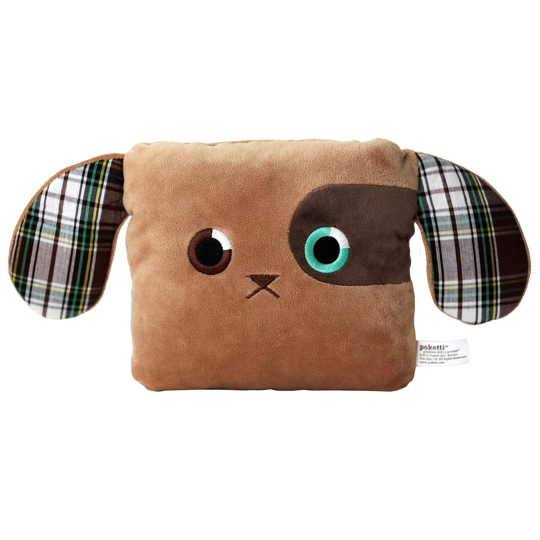 Poketti Puppy Dog Plush Pillow with a Pocket - Front