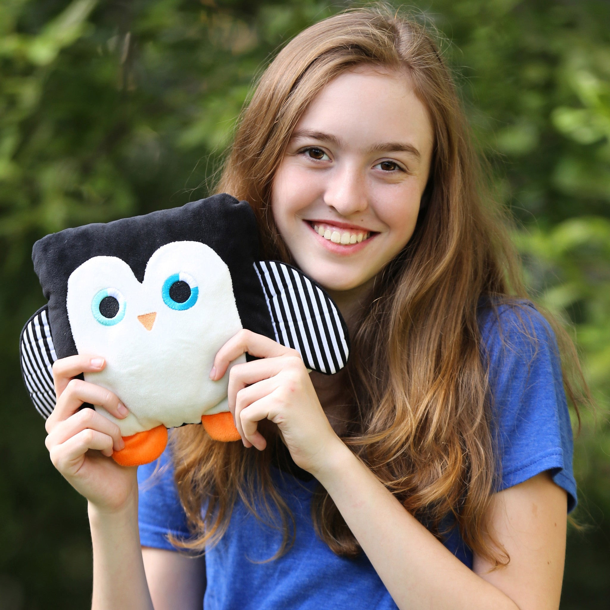 Poketti Penguin Bird Plush Pillow with a Pocket with Founder Sydney