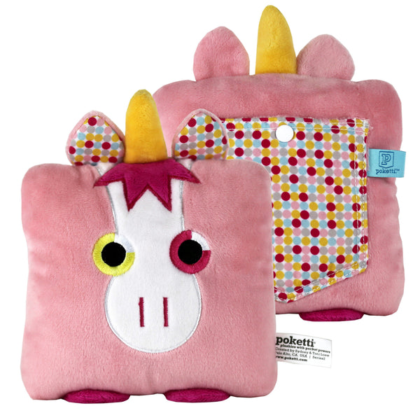 Plush toy unicorn stuffed animal with a useful back pocket