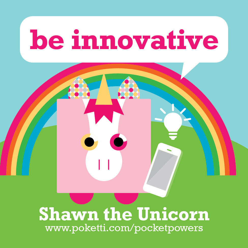 Poketti Shawn the Unicorn comes with Be Innovative stickers in the pocket