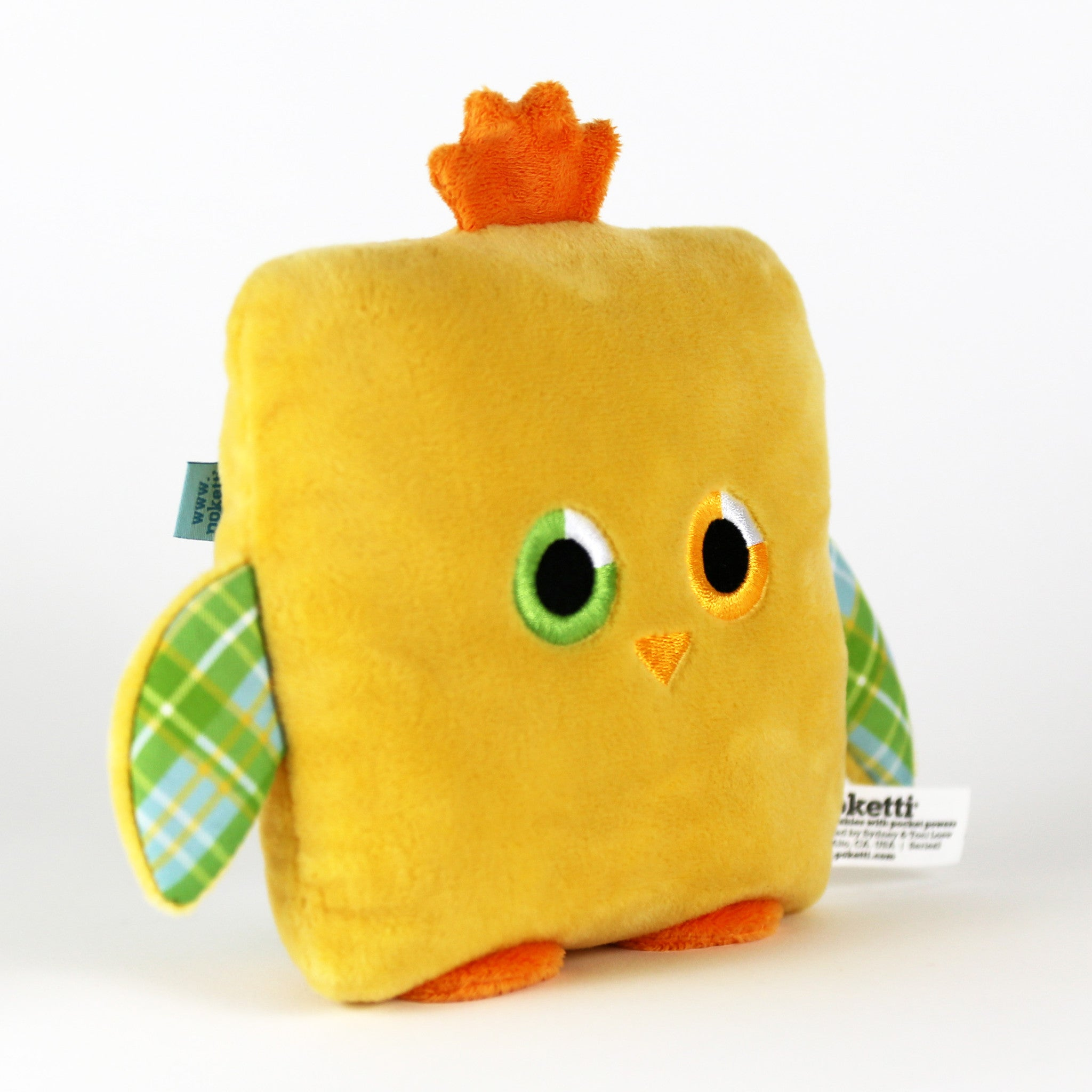 Plush toy chick stuffed animal bird with a useful back pocket