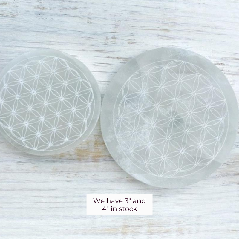 Selenite Flower of Life Cube Charging Plate 3""