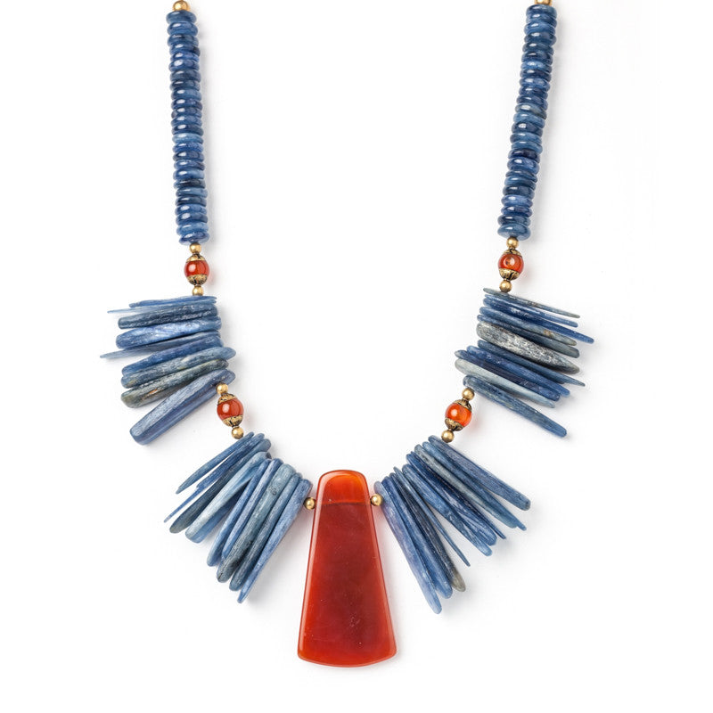 Kyanite and Carnelian Statement Necklace | J. Wild Artisan Jewelry