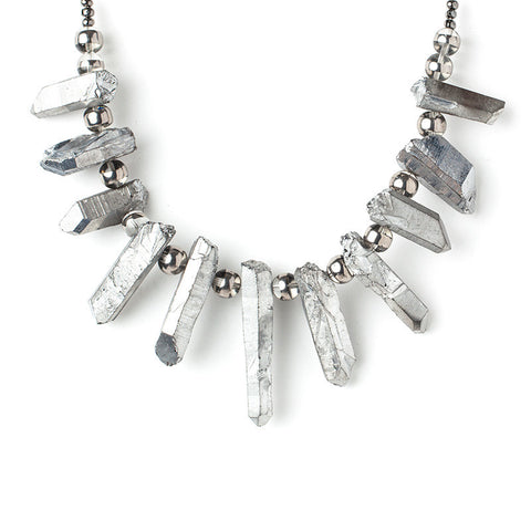 Clear Quartz Points- Plated Silver