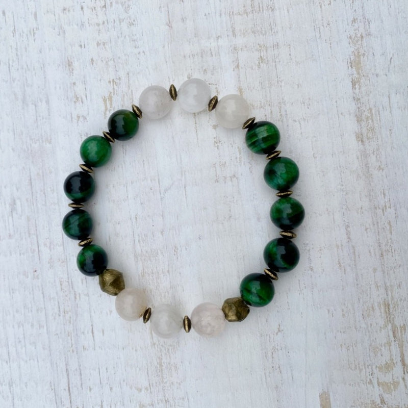 Green Tiger Eye and Rose Quartz Bracelet