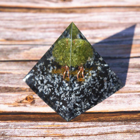 Peridot Tree of Life and Snowflake Obsidian