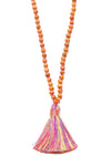 Rainbow Wood Bead Tassel Necklace