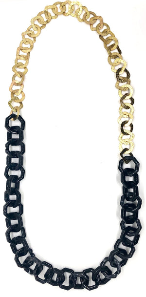 Resin and Hammered Link Necklace-(more colors)