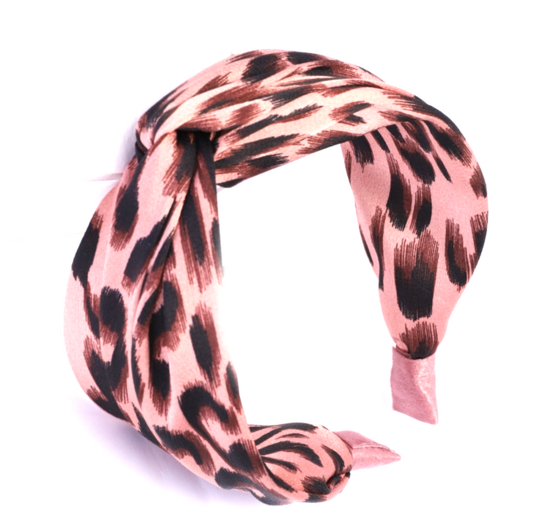 Pink Cross Knot Leopard Headband