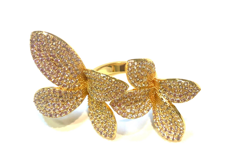 Sugarplum Pave Floral Ring - 2 week pre-order