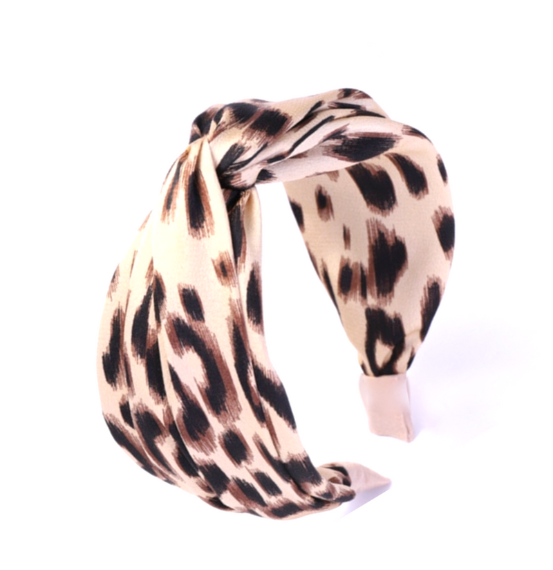 Neutral Cross Knot Leopard Headband