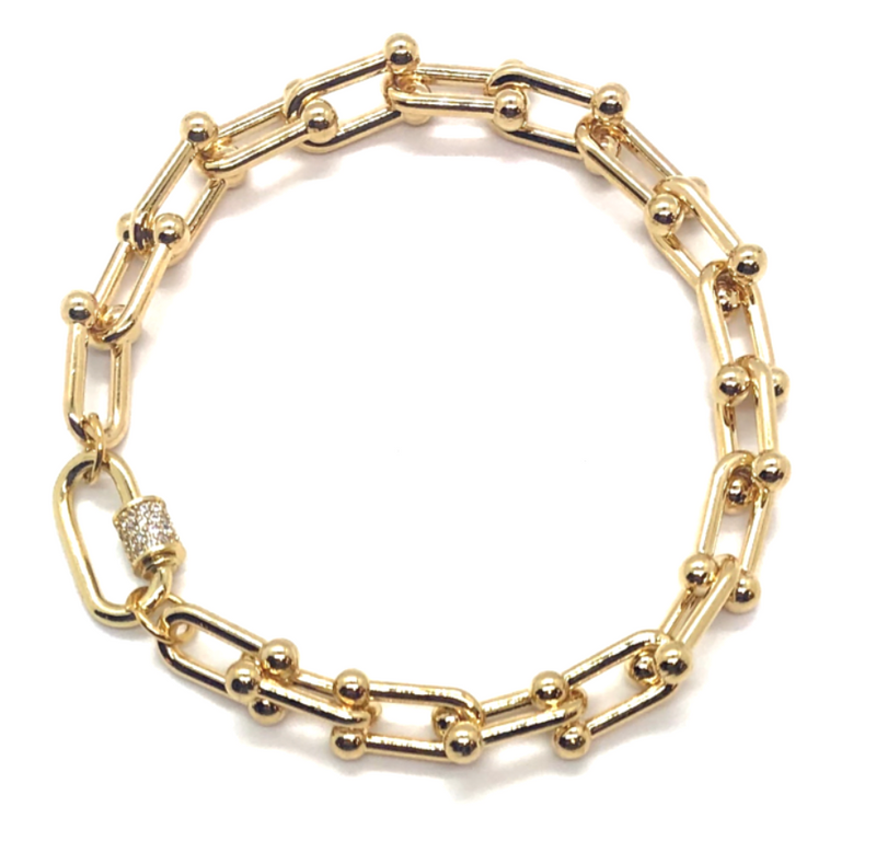 Mini Barbell Bracelet with Pave Clasp