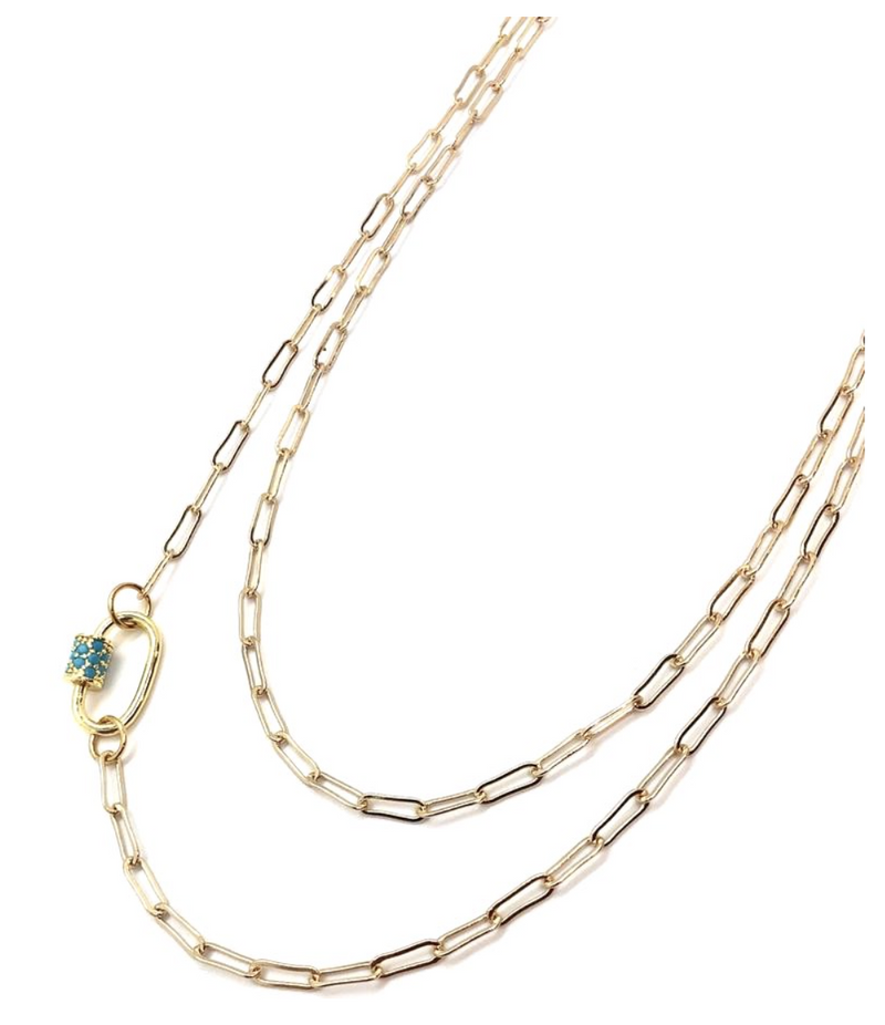 Turquoise Pave Clasp Mini Link Necklace