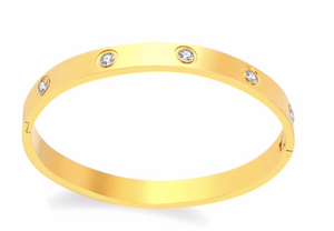 Gold Solitaire Bangle