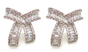 Baguette Bow Studs-more colors (10 DAY SHIPTIME)