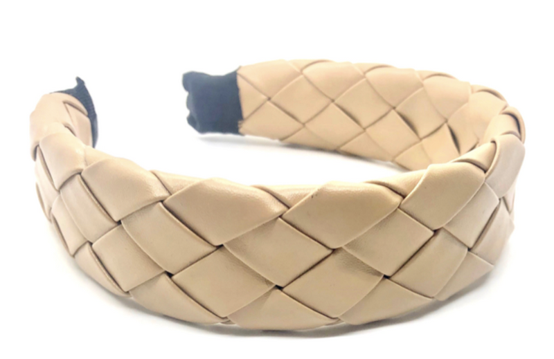 Latte Faux Leather Braided Headband