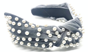 Grey Velvet and Pearls Headband