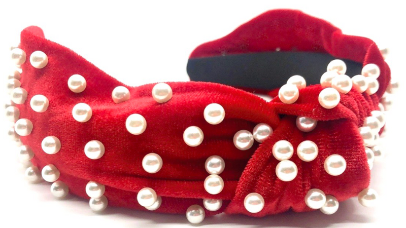 Cranberry Velvet and Pearls Headband