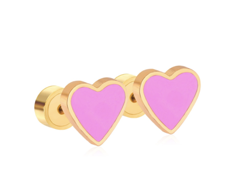 Pretty in Pink Heart Stud