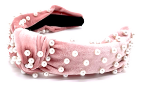 Rosy Velvet and Pearls Headband
