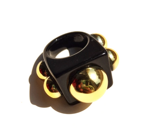 Hip to be Square Resin Ring-Black