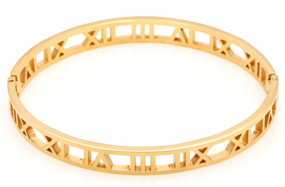 Gold Roman Numeral Hinged Bangle