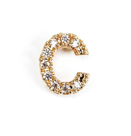 Gold Single Initial Micro Pave Earring