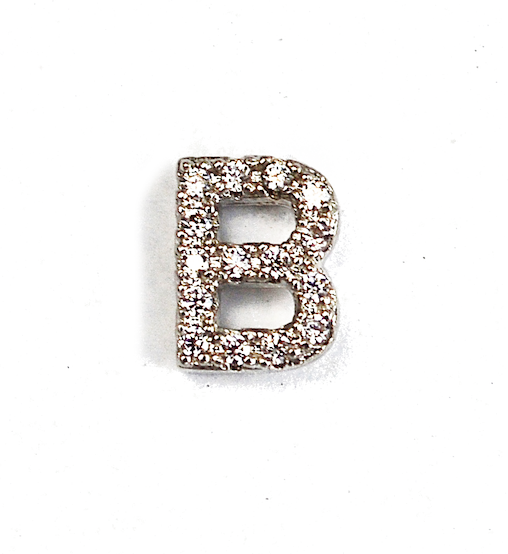 Sterling Silver Single Initial Micro Pave Earring