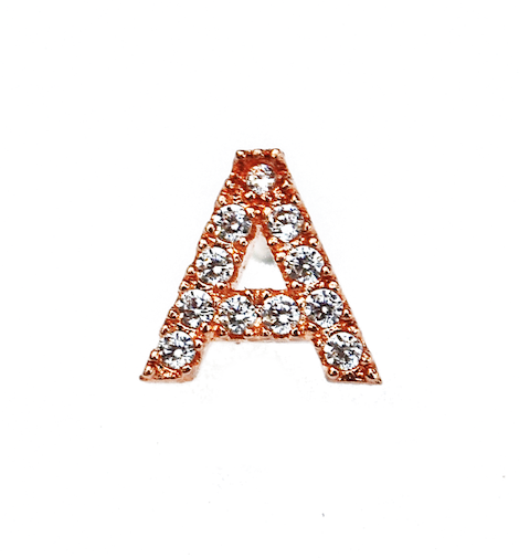Rose Gold Single Initial Micro Pave Earring
