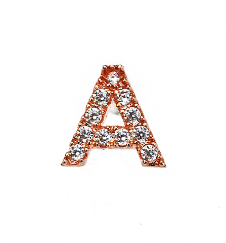 Rose Gold Initial Micro Pave Earrings