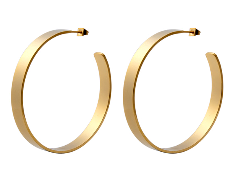 Clio Flat Brass Hoops - (case pack 2)