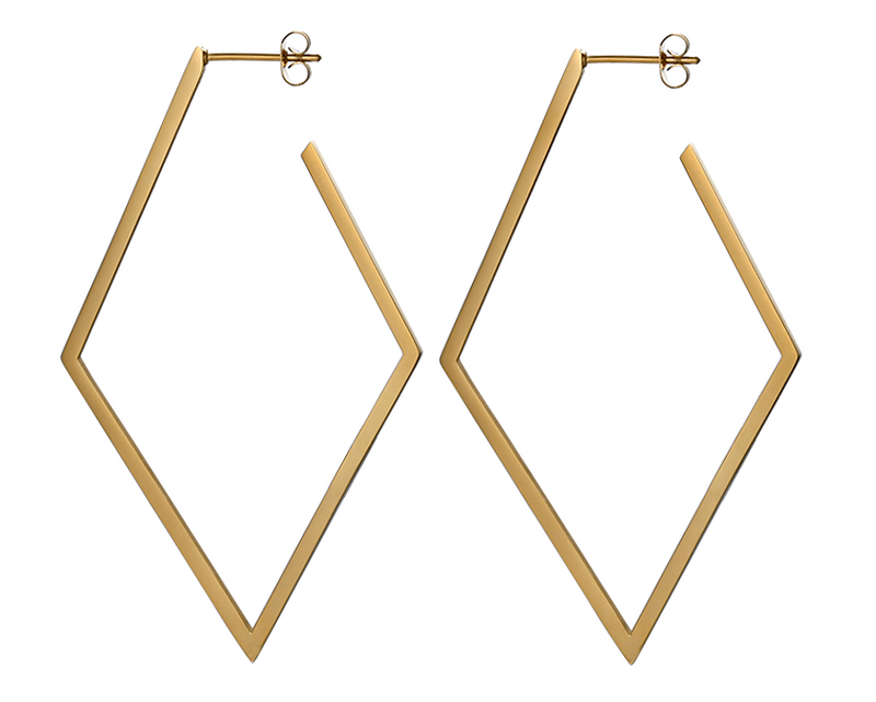 Brass Abstract Diamond Earrings