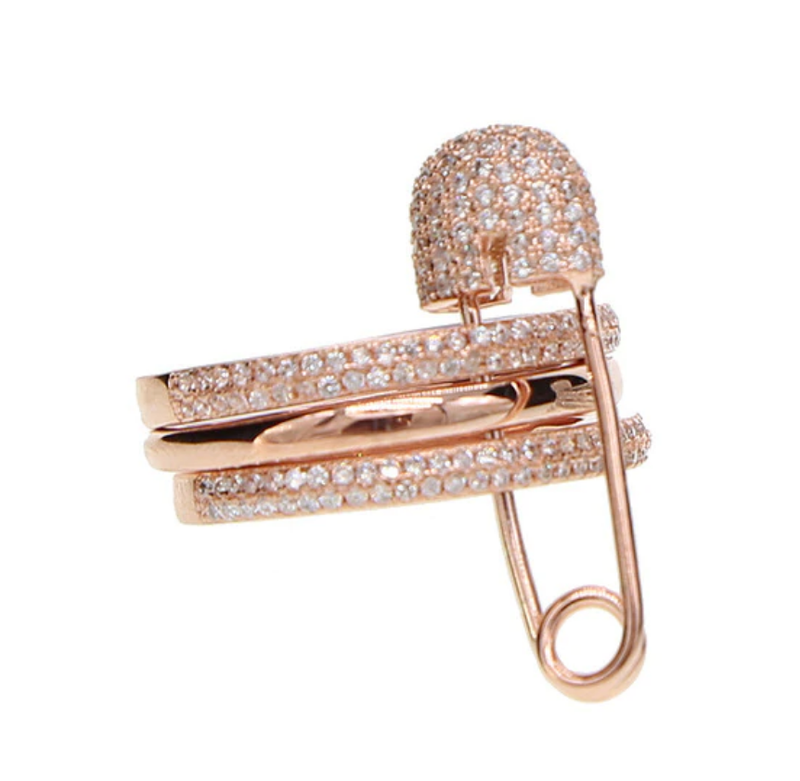 Rose Gold Pave Safety Pin Ring