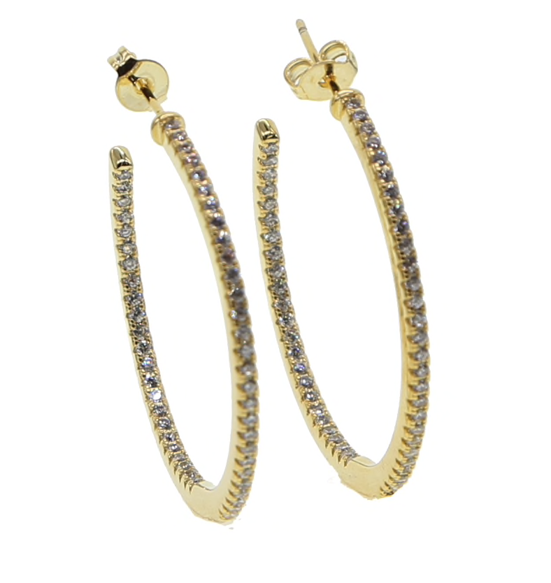 Gold Micro Pave Hoops