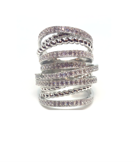 Silver Crossover Cocktail Ring