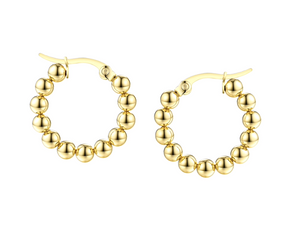 Gold Ball Huggie Hoops