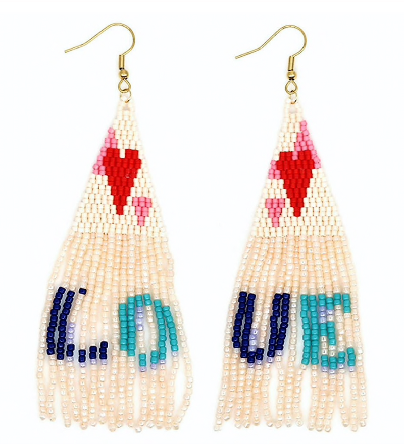 Love Beaded Fringe Drops