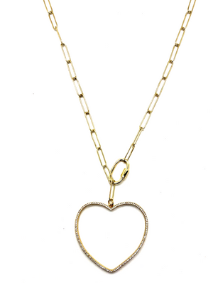 Pave Heart Convertible Chain