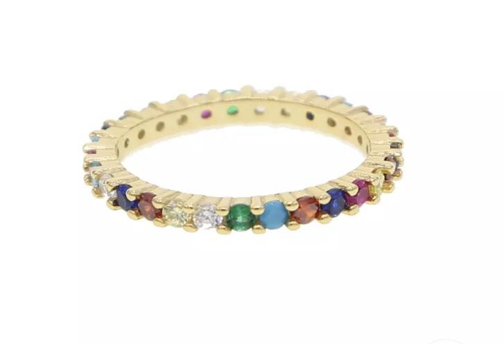 Faceted Rainbow Stone Band