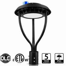 Load image into Gallery viewer, NuGen LED 100W Circular Post Top Fixture with Photocell 5000k DLC PREMIUM 5YR Warranty 13,400LM
