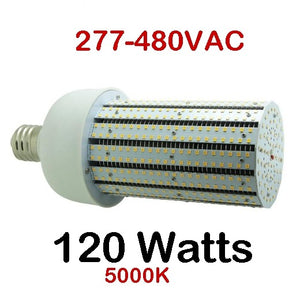 480v 120 Watt Corn Bulb Choose 5000k 6000K 12,500LM 277-480VAC 5YR
