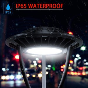 NuGen LED 100W Circular Post Top Light Fixture for 3 inch pole 5000k DLC 5YR Warranty 13,400LM