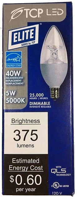 TCP LED5E12B1150K LED Chandelier Bulb 5 Watt Replaces 40w E12 Small Candelabra 5000k