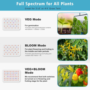 NG-GLW-600 LED Grow Light Full Spectrum Lights Indoor Gardening Veg Bloom Flower Hydroponics Linkable Lamps KUKUPPO