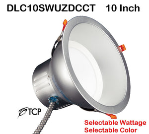 "TCP 10"" Selectable Wattage Tunable Color Temperature Commercial Recessed Downlight – 100 Watt Replacement DLC10SWUZDCCT 10 inch"