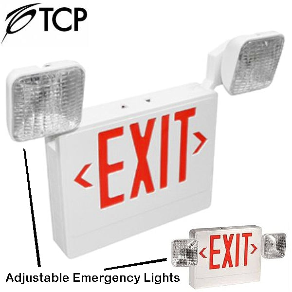 TCP 20784 3.8W LED WHITE Emergency Exit Light Combo Adjustable Dual Head Battery Backup