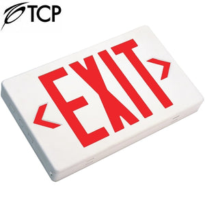 TCP 22743 Red White Snap Together LED Exit Sign Fixture Battery Backup Slim Polycarbonate 2.3w