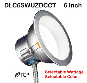"TCP 6"" Selectable Wattage Tunable Color Temperature Commercial Recessed Downlight – 85 Watt Replacement DLC6SWUZDCCT 6 inch"