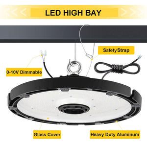 150 Watt UFO Round High Bay LED Fixture 21485 Lumens DLC 5000K Dimmable NG-UFO-150W