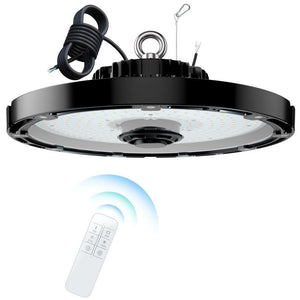 Wireless 150 Watt Remote Dimmable UFO Round High Bay LED Fixture 21485 Lumens DLC 5000K NG-UFO-150W-R